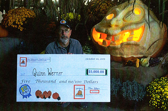 Quinn Werner - Saegertown, Pennsylvania - Grand Champion Pumpkin, State Record - Hall of Fame